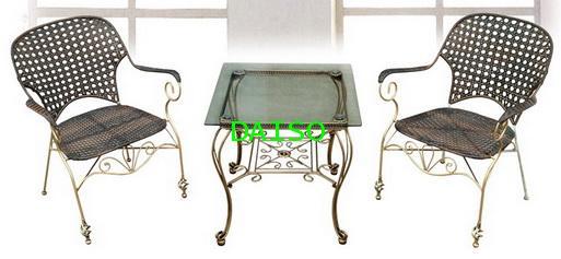 เก้าอี้สนามเหล็กมีท้าวแขน ที่นั่งสานหวายเทียม/เก้าอี้เหล็กดัดถักหวายเทียม DS-DN-31