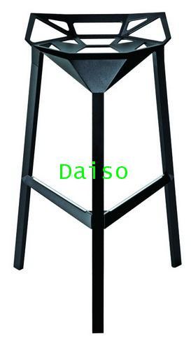 เก้าอี้บาร์อลูมิเนียมสีดำทรงสูง/CD-211