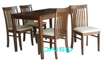 ชุดโต๊ะเก้าอี้อาหารไม้ยาง เฟอร์นิเจอร์ชุดโต๊ะอาหารไม้ยางพารา/DS-DN 48