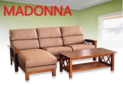 โซฟาไม้ยางพาราเบาะผ้า พร้อมโต๊ะกลาง/ โซฟารุ่นMADONNA