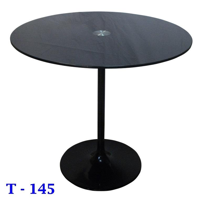 โต๊ะกลมกระจกดำ ขาอลูมิเนียม T-145 /โต๊ะกระจก