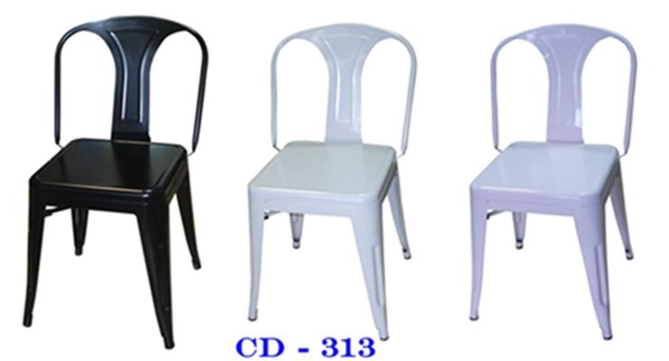 เก้าอี้เหล็กพ่นสีอบ CD-313/เก้าอี้ร้านอาหารโครงเหล็ก มีพนักพิง