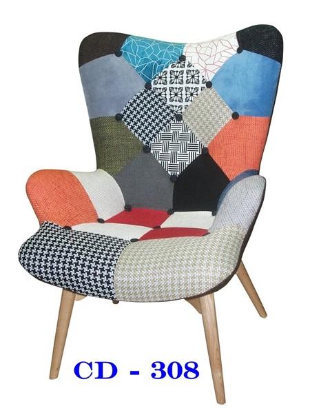 เก้าอี้สตูลเอนพักผ่อน ผ้าผสม ขาไม้_CD308 / เก้าอี้หุ้มเบาะผ้า
