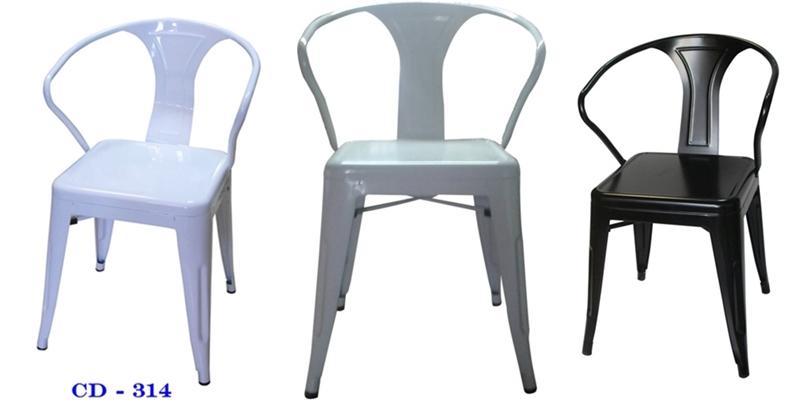 เก้าอี้เหล็กพ่นสีอบ  มีอาร์ม  CD-314/เก้าอี้ร้านอาหารโครงเหล็ก