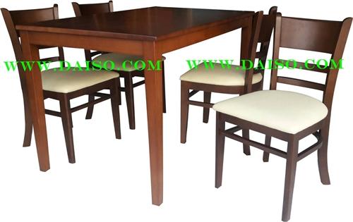 ชุดโตีะและเก้าอี้ทานข้าวไม้ยางพารา 4 ที่นั่ง DS-DN-90