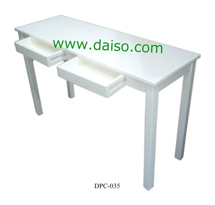 โต๊ะขาไม้ยางพารา หน้าเป็นไฮกรอสสีขาว DPT-035