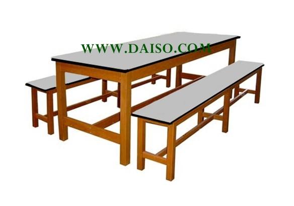 โต๊ะโรงอาหาร S-40-180/โต๊ะโรงอาหารหน้าโฟเมก้าขาว ขาไม้