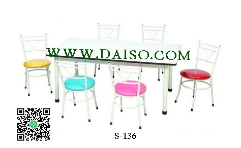 ชุดโต๊ะและเก้าอี้ระดับอนุบาล 6 ที่นั่ง S-136 SET