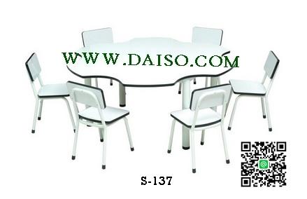 ชุดโต๊ะและเก้าอี้ระดับอนุบาล 6 ที่นั่ง S-137 SET