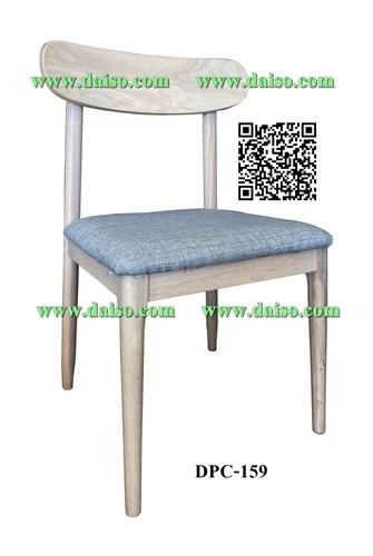 เก้าอี้ไม้ยางพารา ที่นั่งหุ้มเบาะหนังเทียม / เก้าอี้ทานอาหาร / DPC-159