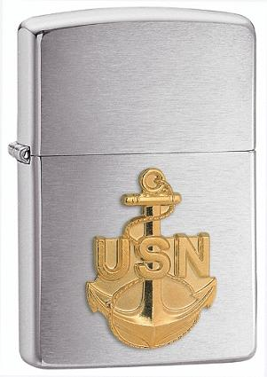 ไฟแช็ค Zippo Brushed Chrome, Navy Anchor Emblem (280ANC)