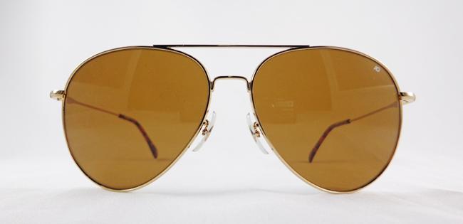 แว่นกันแดด AO General /Gold Frame /Size 58 mm/Wire Spatula/Cosmetal Brown Glass Lenses