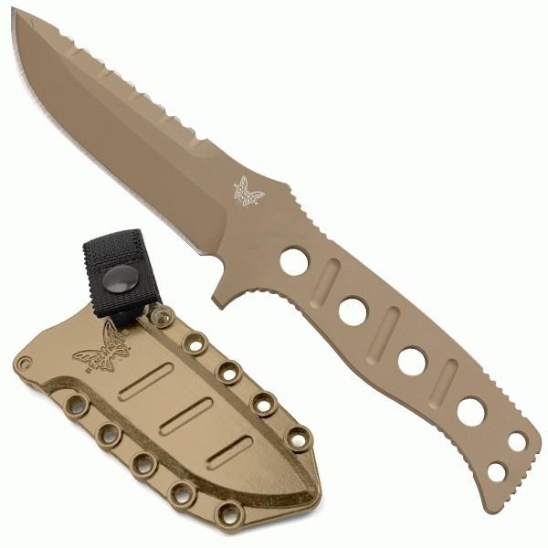 มีดใบตาย Benchmade Adamas Desert Tan D2 Plain Blade, Desert Tan Sheath (375SN)