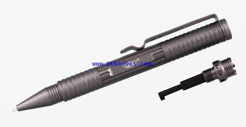 ปากกาแทคติคอล UZI Tactical Defender Pen 3 w/ Crown  Hand Cuff Key, Gun Metal  (UZI-TACPEN3-GM)