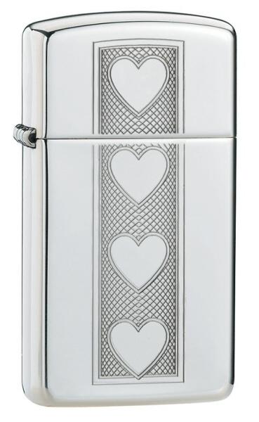 ไฟแช็ค Zippo Heart Slim High Polish Chrome Lighter (28476)