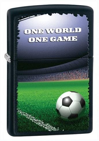 ไฟแช็ค Zippo Soccer One World One Game, Black Matte (28301)