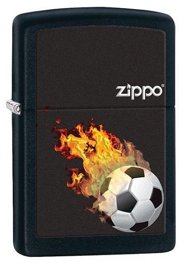 ไฟแช็ค Zippo Soccer Ball In Flames, Black Matte (28302)