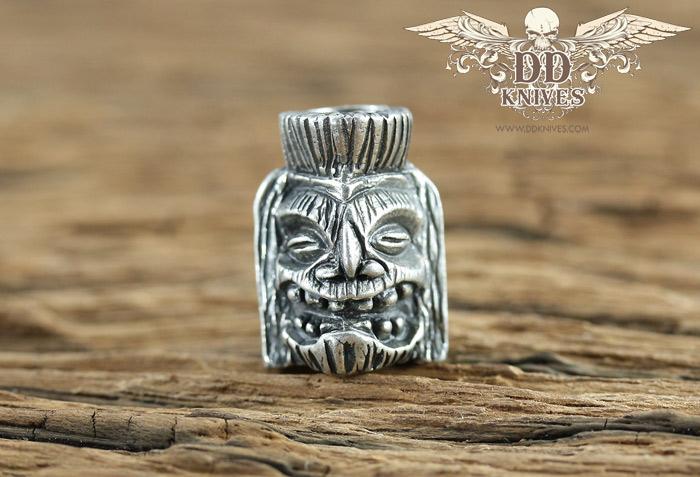 หัวกระโหลกสำหรับแต่ง Lanyard Schmuckatelli Ku Skull Tiki Bead, Pewter (KUP)
