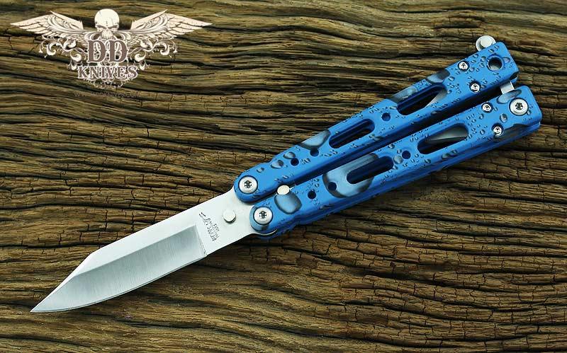 มีดบาลิซอง Bear OPS Bear Song IV Butterfly Knife, Blue Raindrop Aluminum (B-450-AIBD-S)
