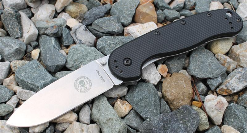 มีดพับ ESEE Avispa Stonewashed AUS-8 Blade, Black FRN and Stainless Steel Handles (BRK1301)