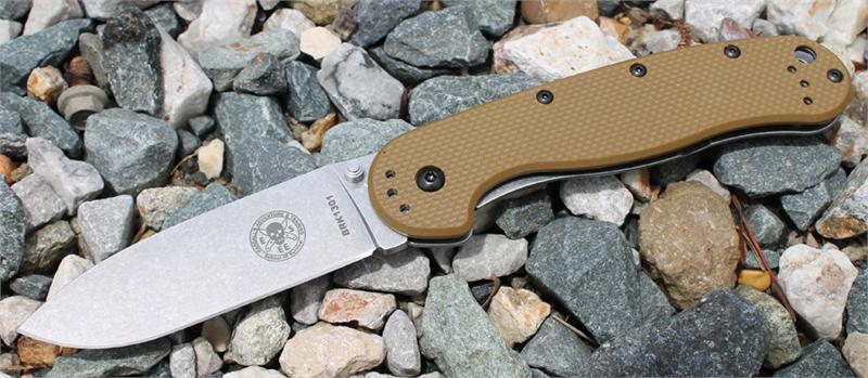 มีดพับ ESEE Avispa Stonewashed AUS-8 Blade, Coyote FRN and Stainless Steel Handles (BRK1301CB)