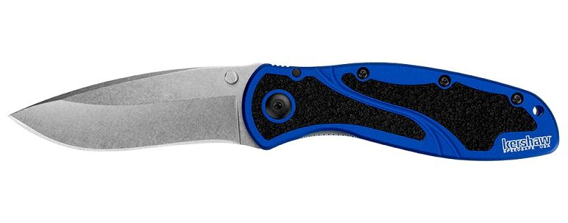 มีดพับ Kershaw Blur Folding Knife Assisted Stonewash Plain Blade, Blue Aluminum Handles (1670NBSW)
