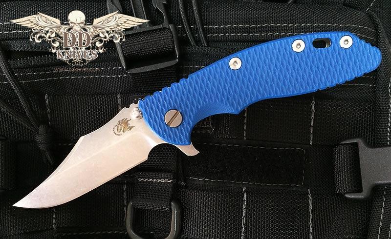 มีดพับ Rick Hinderer XM-18 Bowie Frame Lock Knife Blue G-10 (3.5 Stonewash)