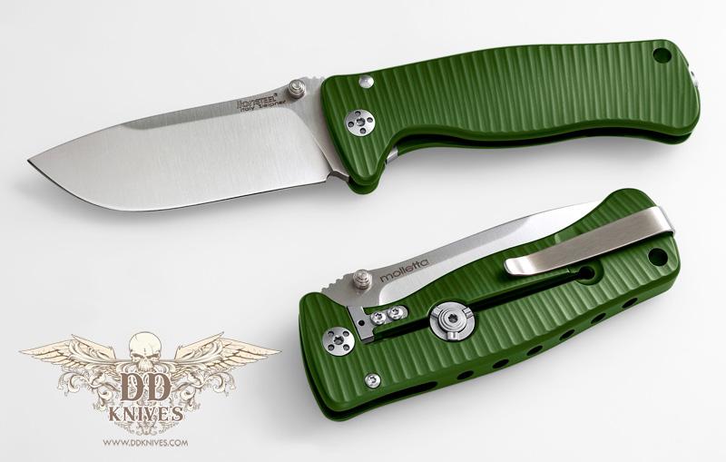มีดพับ LionSteel SR2, Satin Sleipner Steel Blade, Green Aluminum Handle (SR2A GS)