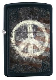 ไฟแช็ค Zippo Peace on Flag Black Matte (28864)