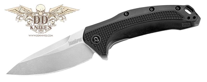 มีดพับ Kershaw Link Folding Knife Assisted Stonewash Plain Blade, Black GFN Handles (1776)