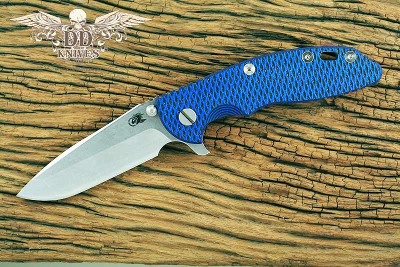 มีดพับ Rick Hinderer Knives 3.5 XM-18 Flipper, S35VN Stonewashed Spanto Blade, Blue-Black G10 Handle