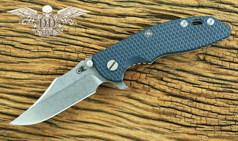 มีดพับ Rick Hinderer Knives 3.5 XM-18 Flipper, S35VN Stonewashed Bowie Blade, Black-Blue G10 Handle