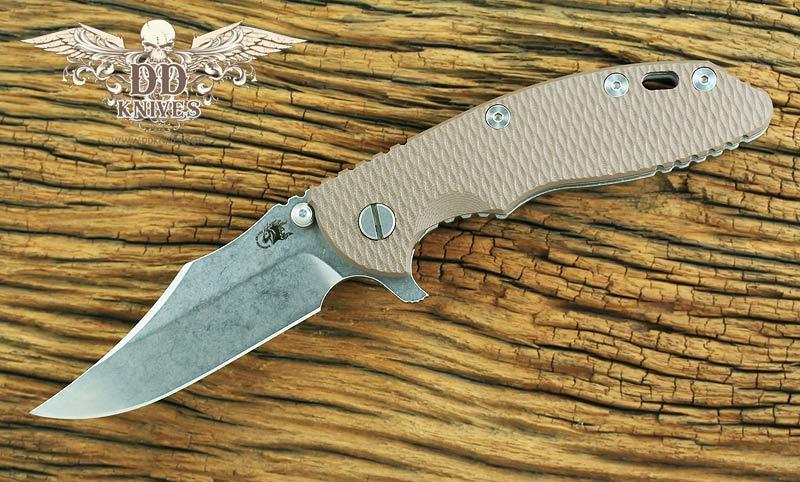 มีดพับ Rick Hinderer Knives 3.5 XM-18 Flipper, S35VN Bowie Blade, Flat Dark Earth G10 Handle