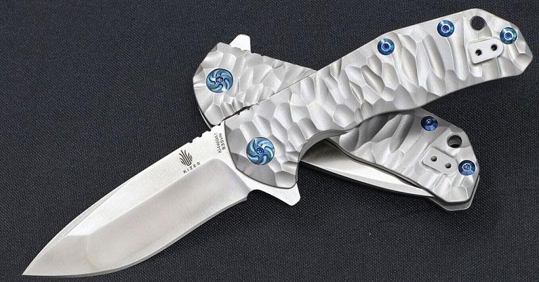 มีดพับ Kizer Cutlery Ki4469A1 Shoal Flipper Stonewashed S35VN Plain Blade, Milled Titanium Handles