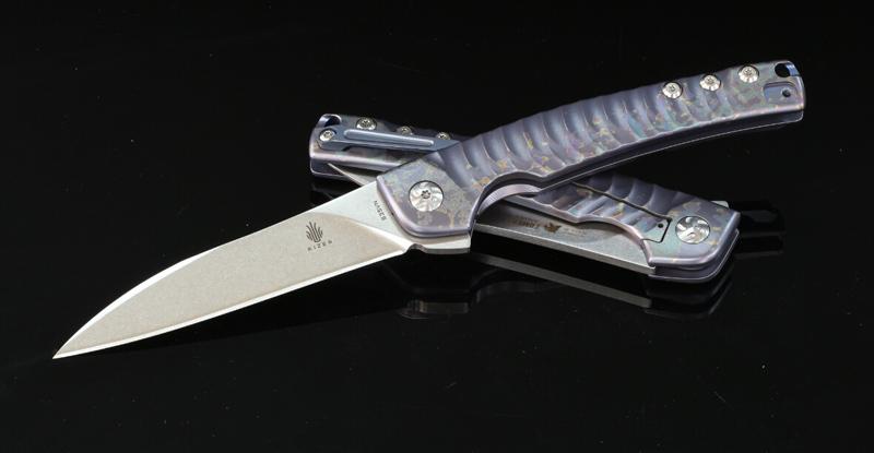 มีดพับ Kizer Cutlery Ki3457A2 TomCat Knives Splinter Flipper S35VN Blade, Rainbow Titanium Handles
