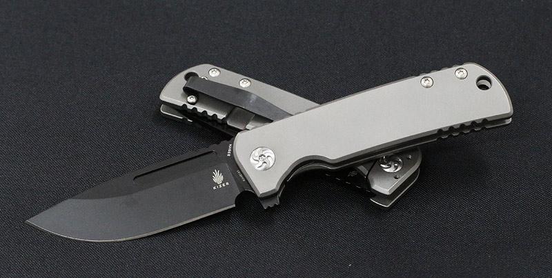 มีดพับ Kizer Cutlery Ki4481 Dirk Pinkerton Escort Black S35VN Blade, Milled Titanium Handles