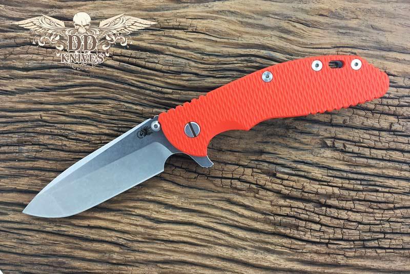 มีดพับ Rick Hinderer Knives XM-24 Flipper, S35VN Stonewashed Spanto Blade, Orange G10 Handle