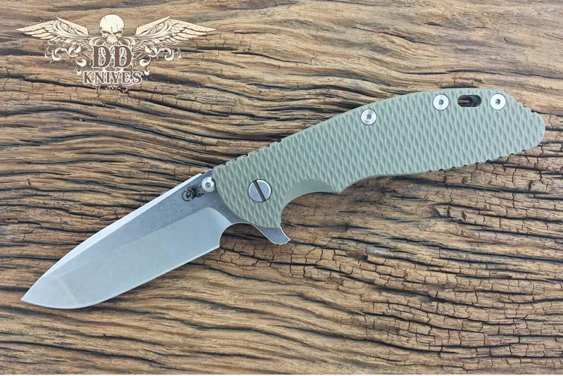 มีดพับ Rick Hinderer Knives XM-24 Flipper, S35VN Stonewashed Spanto Blade, OD Green G10 Handle