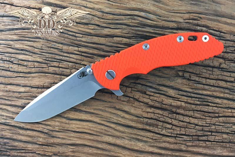 มีดพับ Rick Hinderer Knives 3.5 XM-18 Flipper, S35VN Spanto Blade, Orange G10 Handle