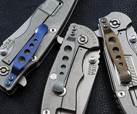 Rick Hinderer Knives XM Holey Titanium Pocket Clip - Blue Anodization