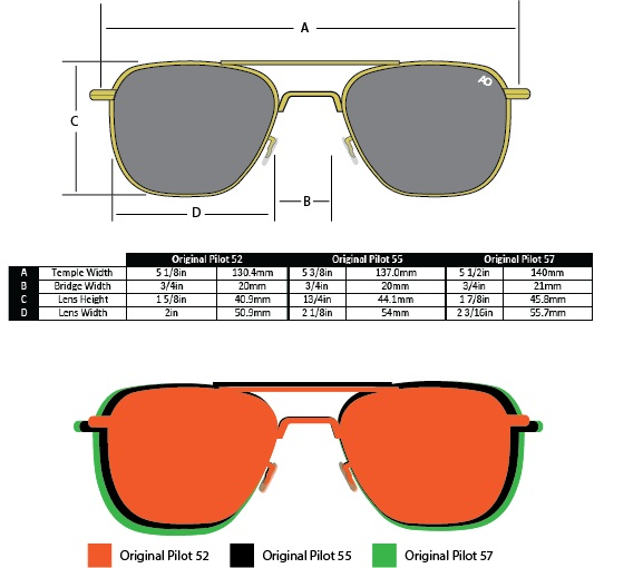 แว่นกันแดด AO Original Pilot /Gold Frame /Size 52 mm. 8