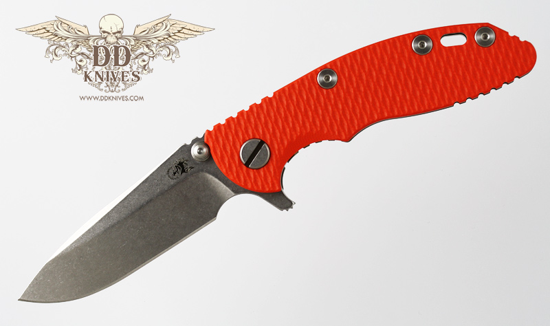 มีดพับ Rick Hinderer Knives 3.0 XM-18, Spear Point Blade, Orange G10 Handle Bronze Anodized Titanium