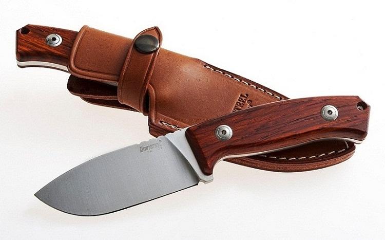 มีดใบตาย LionSteel M2 Hunter Fixed D2 Blade, Cocobolo Wood Handles, Leather Sheath (M2CB)