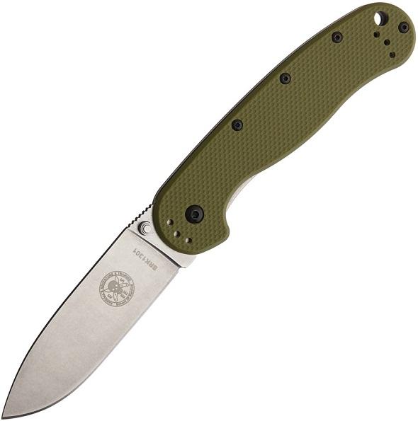 มีดพับ ESEE Avispa Folding Knife Stonewashed D2 Blade, Olive Drab FRN Handles (BRK1302OD)