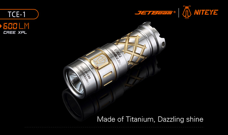 ไฟฉาย JETBeam TCE-1 Limited Edition 24K Gold Plated Titanium LED Flashlight Bundle, 600 Max Lumens