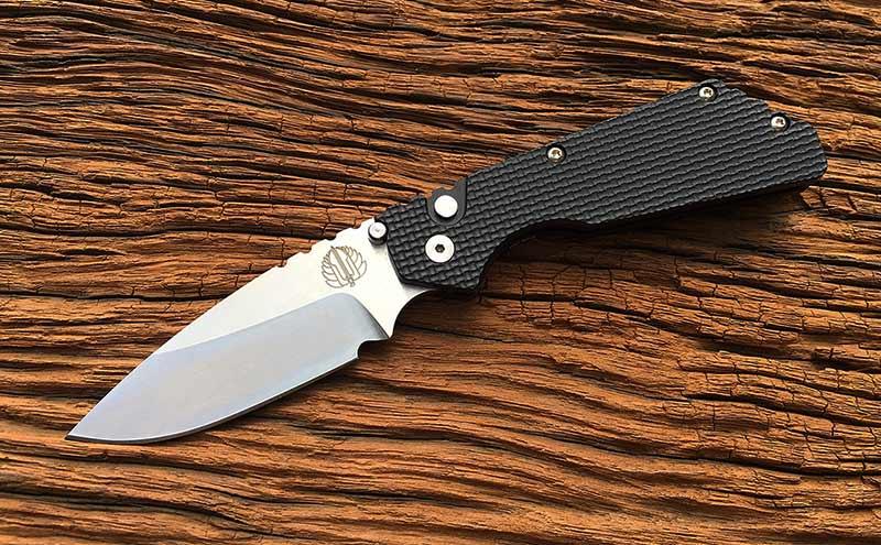 มีดออโต้ Pro-Tech Strider PT AUTO Folding Knife Stonewashed Plain Blade, Aluminum Handles (2305)