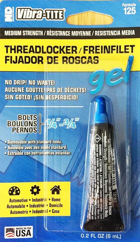 น้ำยาล็อคเกลียวชนิดแรงยึดปานกลาง Vibra-Tite 125 Medium Strength Gel Threadlocker