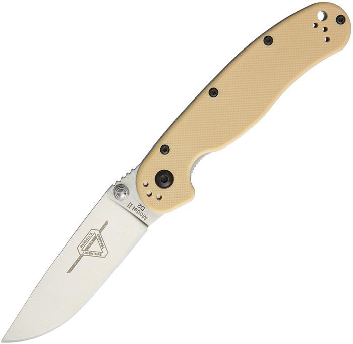 มีดพับ Ontario RAT Model 2 Folding Knife D2 Satin Plain Blade, Desert Tan Nylon Handles (8828DT)