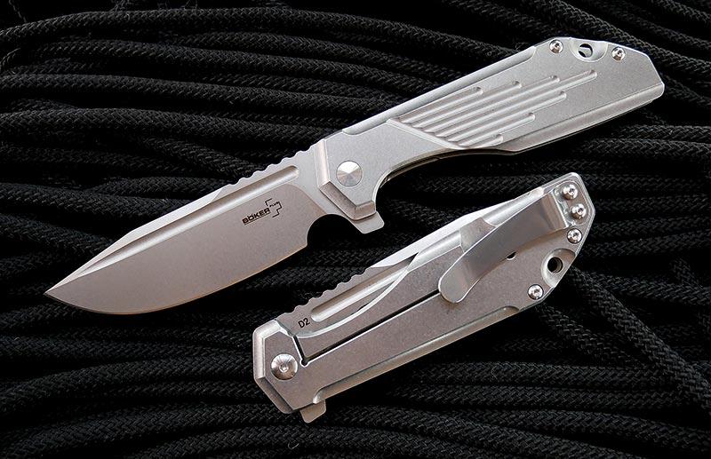 มีดพับ Boker Plus JB Stout Lateralus Flipper D2 Stonewashed Blade, Stainless Steel Handles (01BO777)