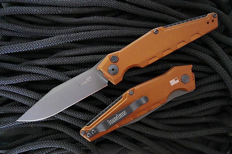 มีดออโต้ Kershaw Launch 7 AUTO Folding Knife Black CPM-154 Blade, Earth Brown Handles (7900EBBLK)
